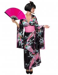 Japanerin Damenkostüm Kimono schwarz-rosa