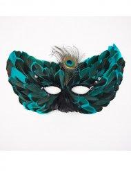 Augenmaske aus echten Federn, türkis