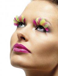 Wimpern mit Federn gelb-rosa-weiß