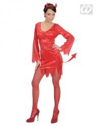 Pailletten-Teufelin Damen-Kostüm rot