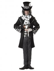 Dunkler Clown Halloweenkostüm Hutmacher schwarz-weiss