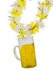 Hawaii Kette mit Bierkrug gelb-weiss 48x15cm