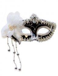 Venezianische Domino Maske schwarz-silber