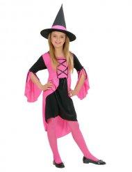 Süße Hexe Kinder-Kostüm pink-schwarz