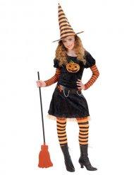 Süße Kürbis-Hexe Kinder-Kostüm schwarz-orange