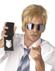 Detektiv Perücke und Schnauzbart blond
