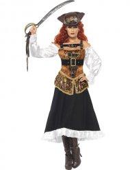 Steampunk Wildwest Piratin Damenkostüm braun-weiss