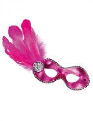 Venezianische Domino Maske Federn pink gold