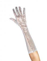 Pailletten Damenhandschuhe lang silber