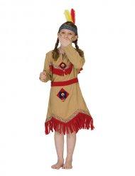 Indianerin Indianermädchen Kinderkostüm beige-rot-gelb