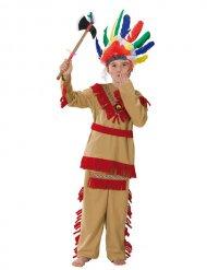 Indianer Western Kinderkostüm beige-rot-gelb