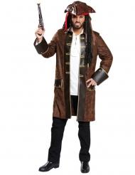 Piratenmantel Kostüm-Oberteil braun-gold-schwarz