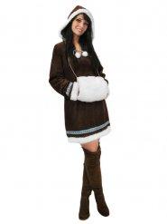 Eskimo Inuit Damenkostüm braun-weiss-hellblau