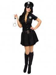 Sexy Polizei Damenkostüm Polizistin schwarz-silber