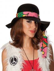 Hippie 60er 70er Damenhut schwarz-pink-grün