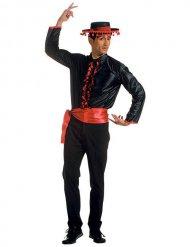 Flamenco Rüschen-Hemd Spanier mit Gürtel schwarz-rot