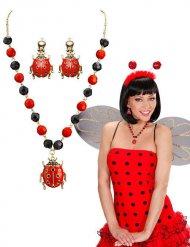 Schmuck-Set Marienkäfer Halskette und Ohrringe rot-schwarz
