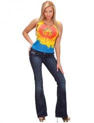 Hippie Batik-Damen-Top gelb-rot-blau