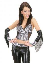 Sexy Zebra Handschuhe mit Fransen schwarz-weiss