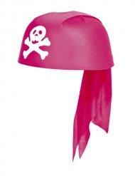 Mädchen Piratenhut rosa-weiss