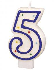 Geburtstagskerze Zahl 5 Torten-Deko weiss-blau 6cm