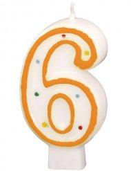 Geburtstagskerze Zahl 6 Torten-Deko weiss-orange 6cm
