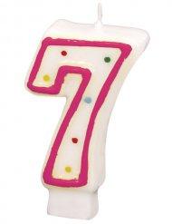 Geburtstagskerze Zahl 7 Torten-Deko weiss-pink 6cm