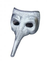 Venezianische Maske Theatermaske Schnabelmaske Karneval silber
