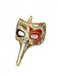 Venezianische Maske Theatermaske Schnabelmaske Karneval gold-rot