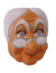 Maske Theatermaske Gesichtsmaske alte Frau braun-weiss