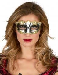 Venezianische Augenmaske Glitter schwarz-gold-silber