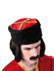 Kosakenmütze Zar Russe Hut schwarz-rot