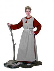 Wikingerin Bäuerin Mittelalter Damenkostüm rot-grau