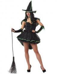 Hexe Magierin Zauberin Halloween Damenkostüm schwarz-grün
