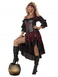 Dunkle Piratin Freibeuterin Damenkostüm schwarz-rot