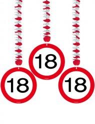 18. Geburtstag Hänge-Spiralen Party-Deko 3 Stück rot-weiss-schwarz 75cm