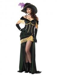 Western Burlesque Damenkostüm Showgirl grün-gold