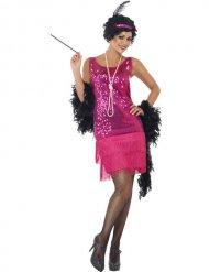 20er Charleston Can Can Jazz Damenkostüm Fransen pink