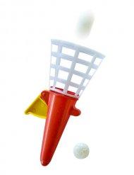 Fangballspiel Spielzeug Mitbringsel rot-weiss 12cm