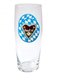 Oktoberfest Bierglas Lebkuchenherz Partydeko blau-weiss 500ml
