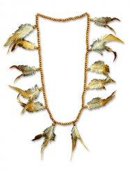Indianer Perlen-Kette mit Federn braun