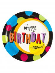 Geburtstagsparty Teller Happy Birthday Again 8 Stück bunt 27cm