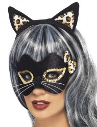 Katze Accessoire-Set Ohren Haarreif und Augenmaske schwarz-gold