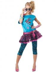 80er Damenkostüm Disco blau-pink