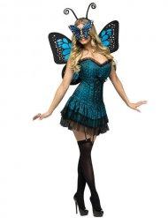 Schmetterling Damenkostüm Fee blau-schwarz