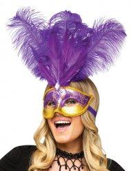 Venezianische Augenmaske mit Federn violett-gold