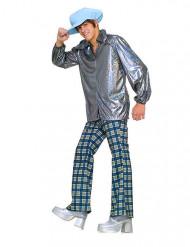 60er 70er Disco Kostüm silber-blau