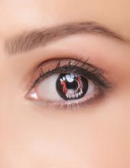 Kontaktlinsen Vampirzähne schwarz-weiss-rot