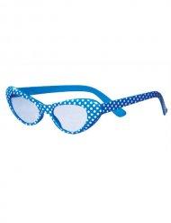 50er Cat-Eye-Brille Sekretärin Dots hellblau