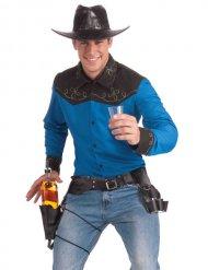 Cowboy Gürtel mit Shotglas- und Flaschen-Halter braun